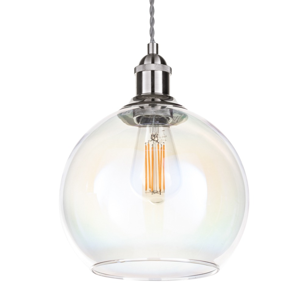 Lighting|Ceiling lights Braided Cable Kit Pendant with Petroleum Glass Shade - Satin Nickel