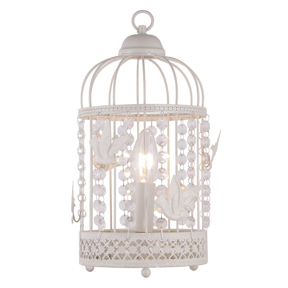 1 Light Distressed Effect Birdcage Table Lamp White From
