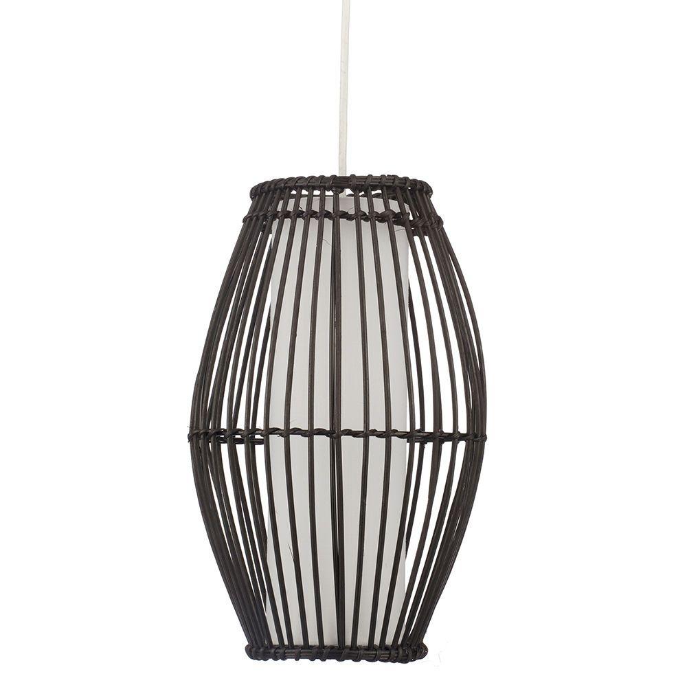 1 Light Wicker Rattan Ceiling Pendant Black From Litecraft