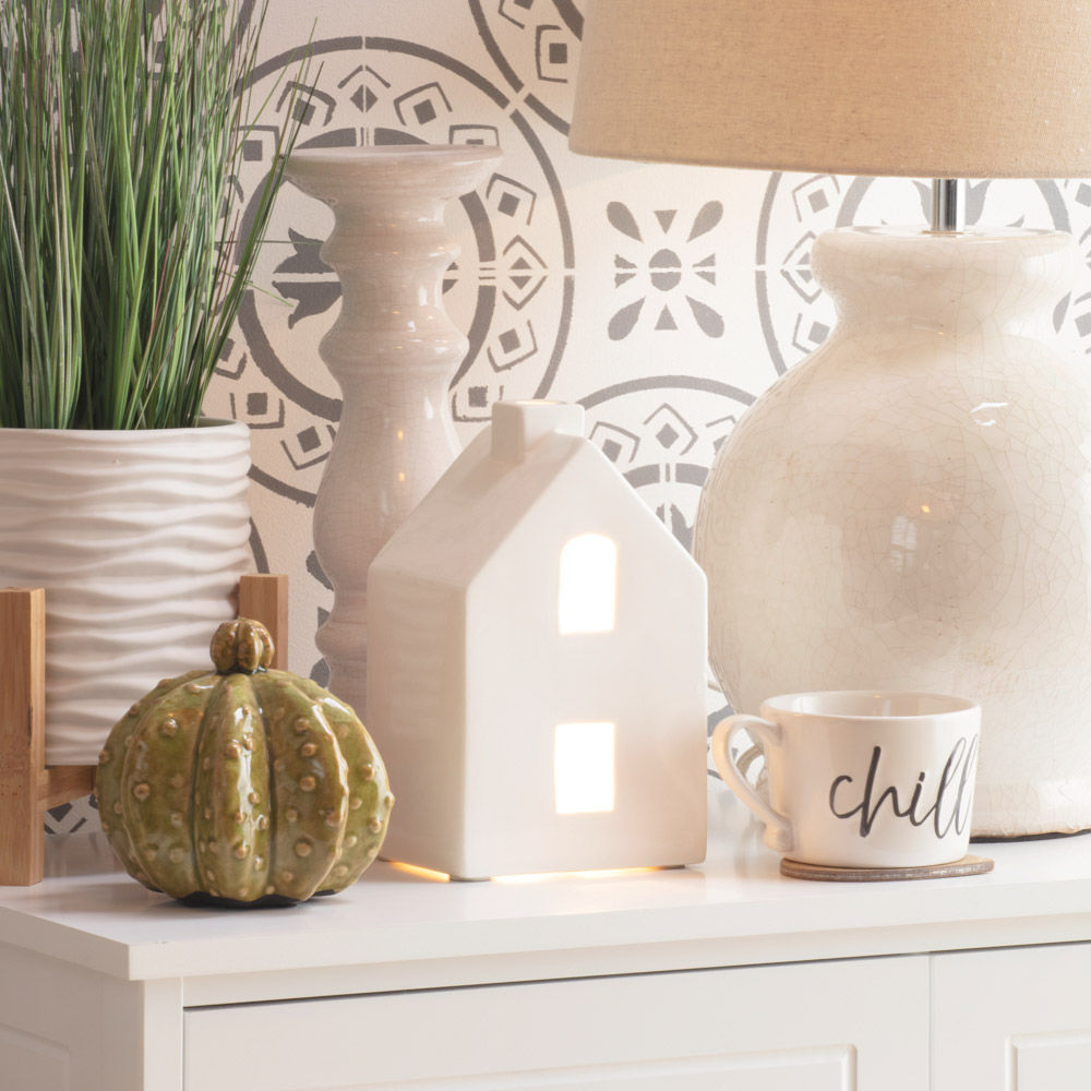 1 Light Ceramic House Styled Table Lamp White From Litecraft