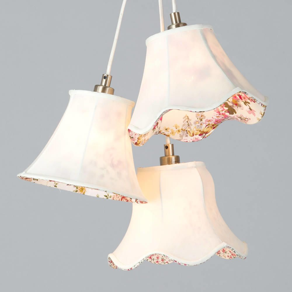 3 Light Floral Shade Cluster - Cream from Litecraft