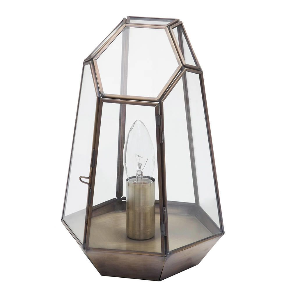 Terrarium Candle Lantern Table Lamp  Antique Brass
