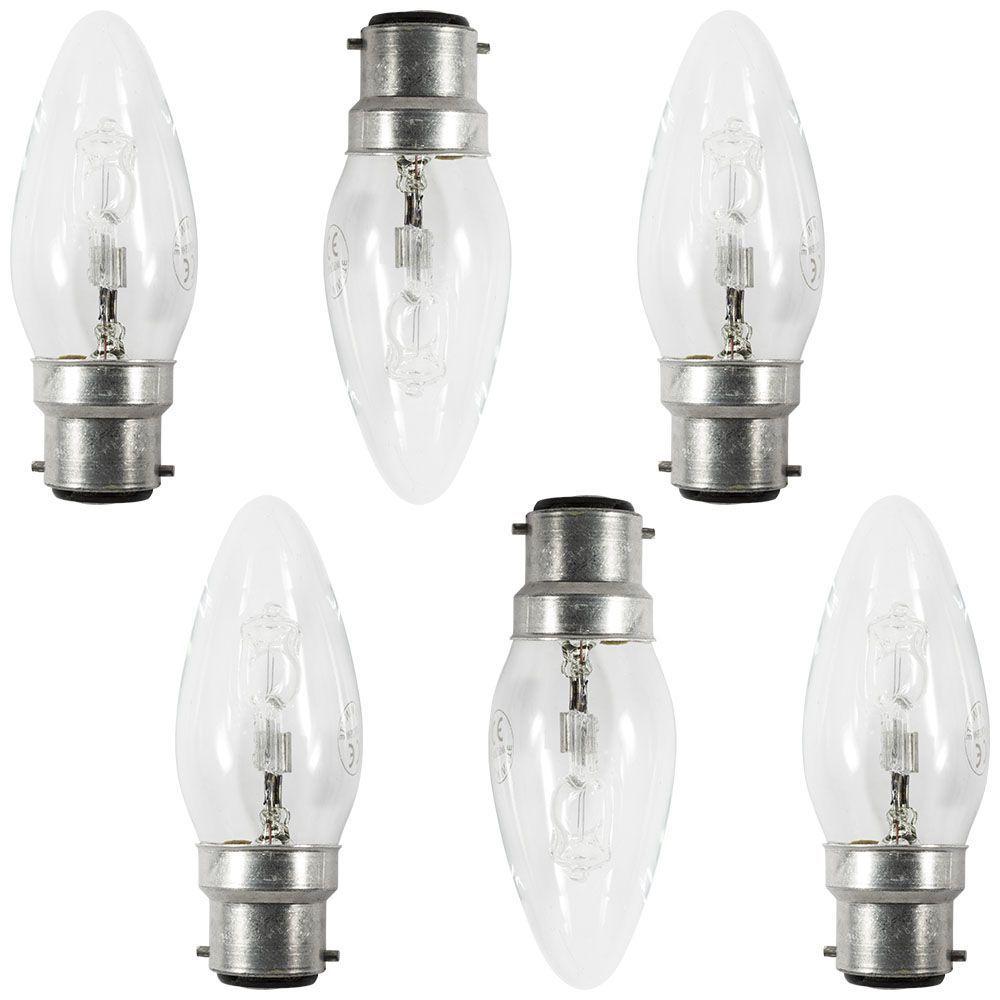 6 Pack Of 28 Watt B22 Bayonet Cap Candle Light Bulbs Clear From Litecraft