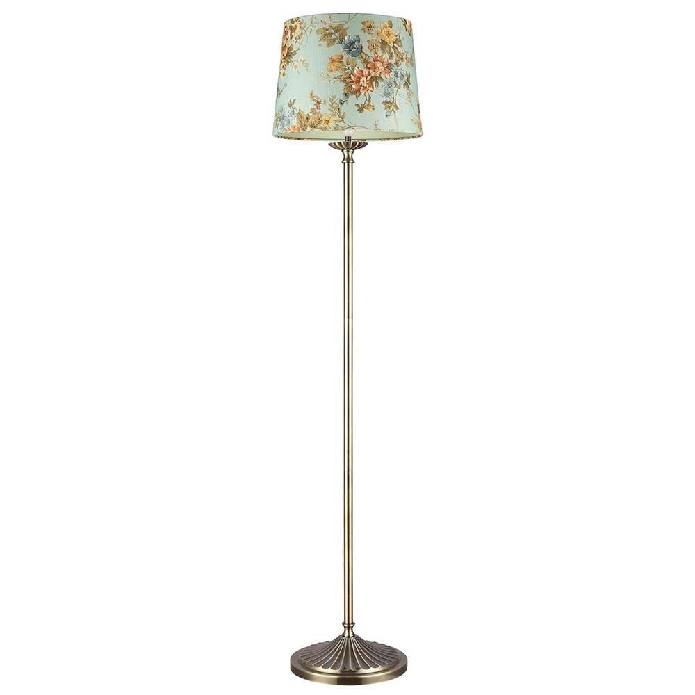 Vintage Style 1 Light Floor Lamp with Flower Shade  Antique Brass