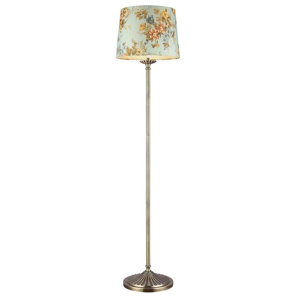 Vintage Floor Lamp With Flower Shade 1 Light Antique Brass