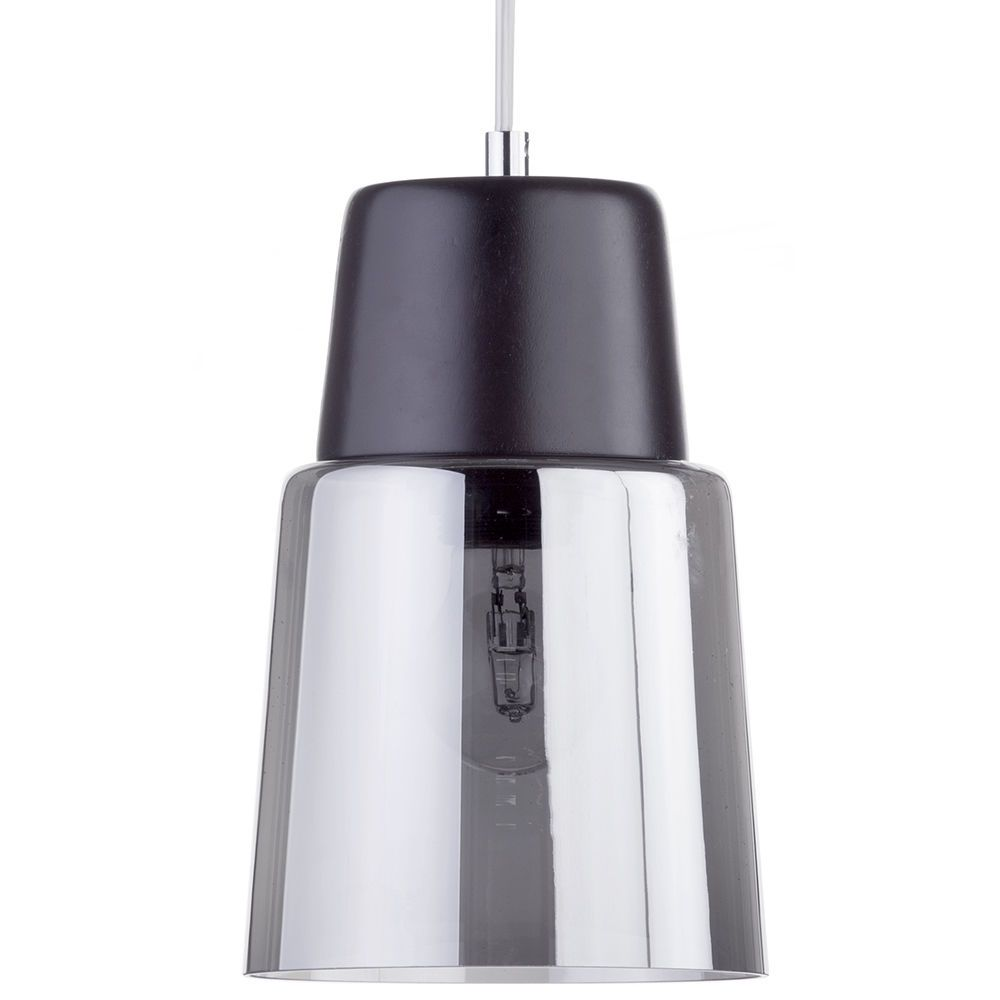 Scandi Ceiling Pendant With Smoked Glass Shade