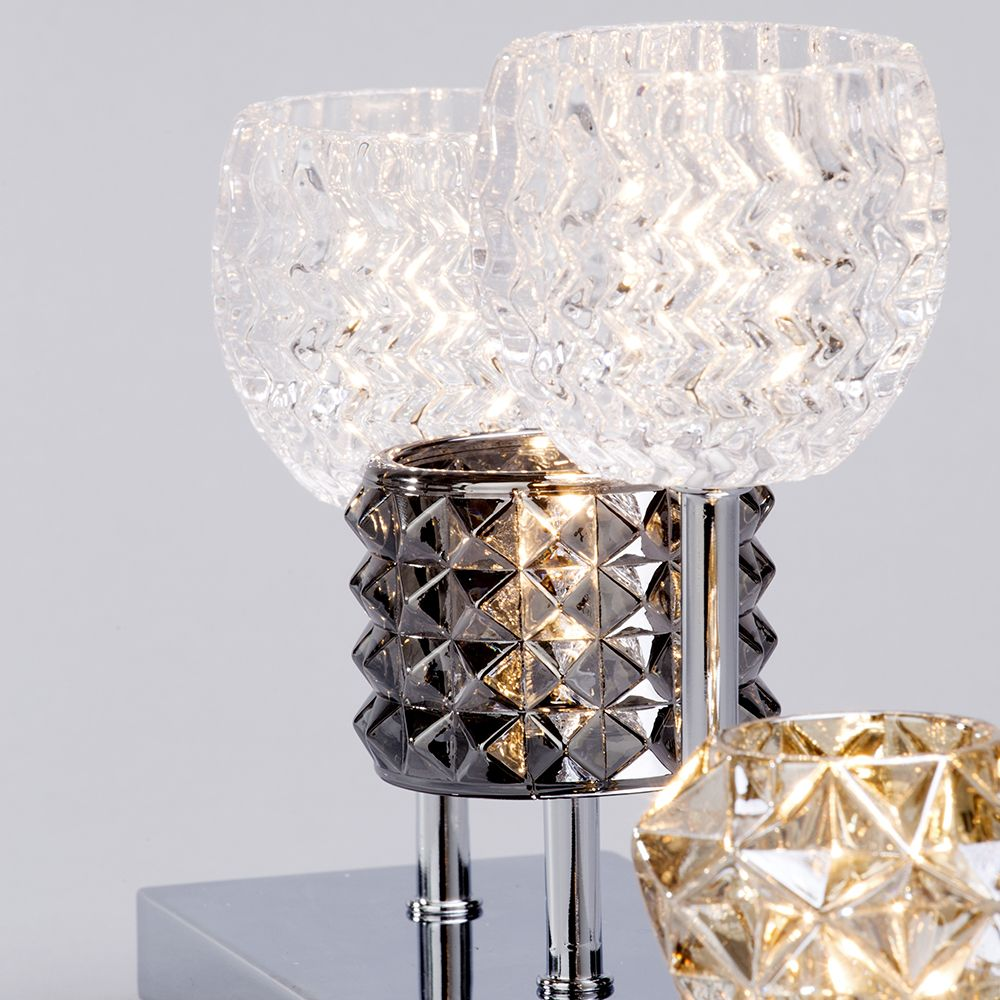 4 light table lamp chrome with glass shade bedside home for Glass bedside lamp shades