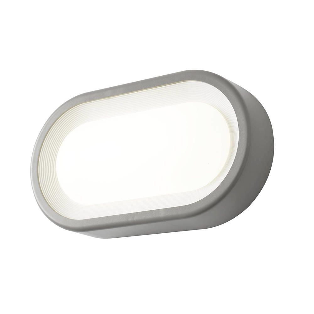 Linus Oval Outdoor LED Bulkhead Wall Light - Grey from ...
