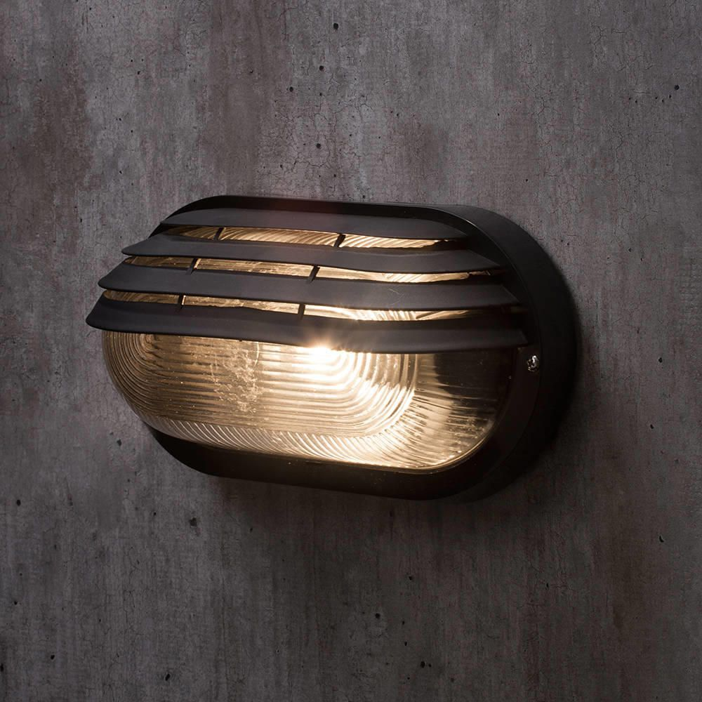 Exterior Lighting: Anders Black Oval Outdoor Bulkhead Eyelid Wall Light