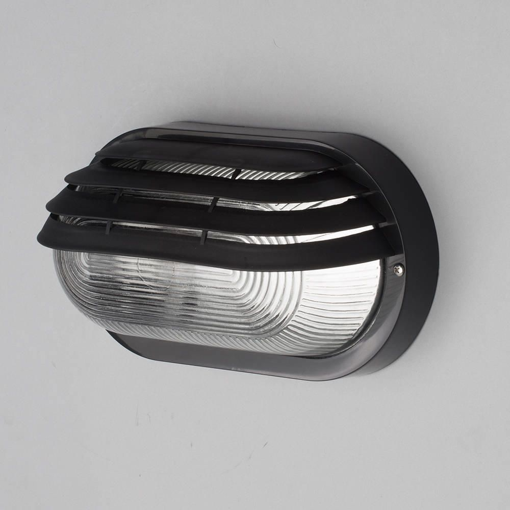 Anders Oval Outdoor Bulkhead Eyelid Wall Light Black