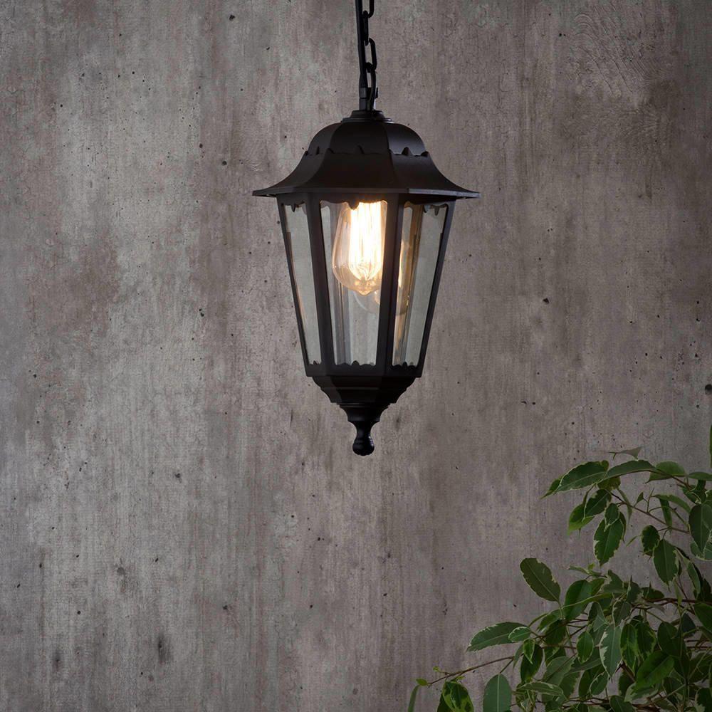 Neri Outdoor Polycarbonate Hanging Lantern - Black from Litecraft