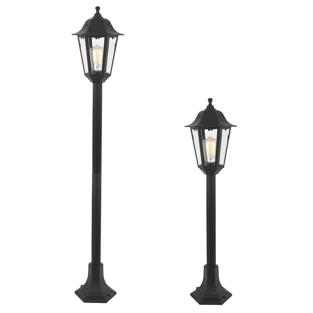 neri outdoor polycarbonate lamp post lantern  black from litecraft - height adjustable coastal outdoor post lantern