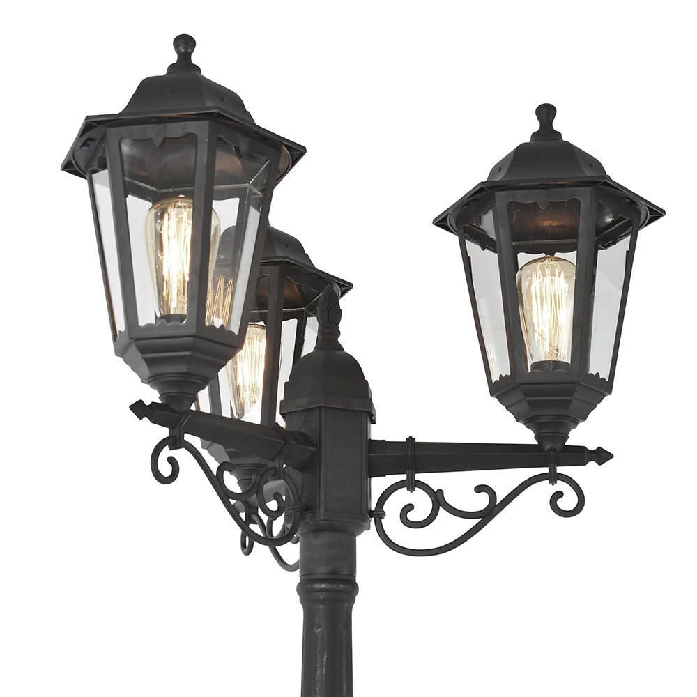 Outdoor Light Neri Polycarbonate Triple Head Tall Lamp