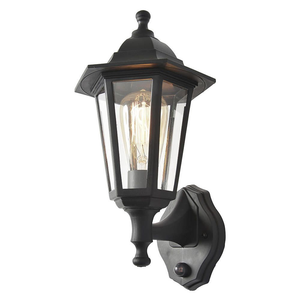 Neri outdoor polycarbonate wall lantern with pir black fastfree delivery mozeypictures Image collections