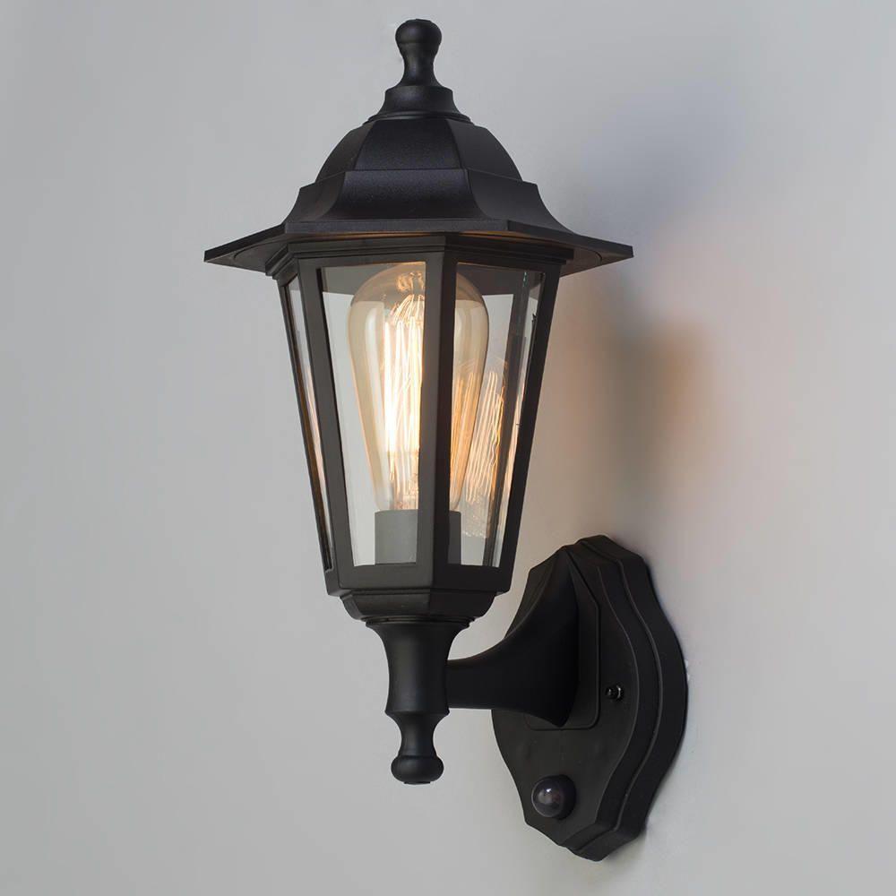Neri Outdoor Polycarbonate Wall Lantern With Pir Black