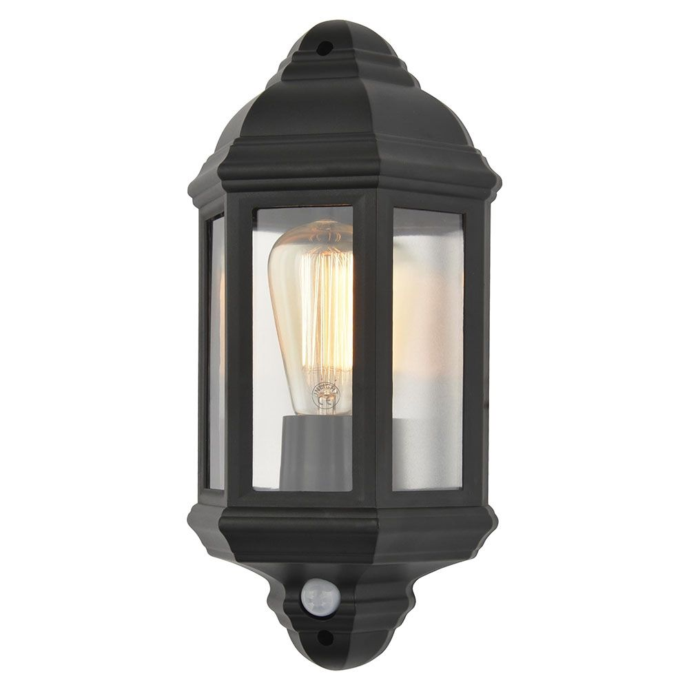 Litecraft Outdoor Wall Lights : Athena 1 Light Outdoor Half Wall Lantern with PIR Sensor - Black from Litecraft