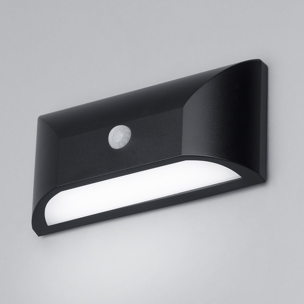 Truro Ip65 Led Rectangular Pir Wall Light Black Litecraft