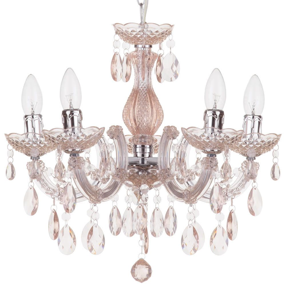 Marie Therese 5 Light Chandelier  Pale Pink