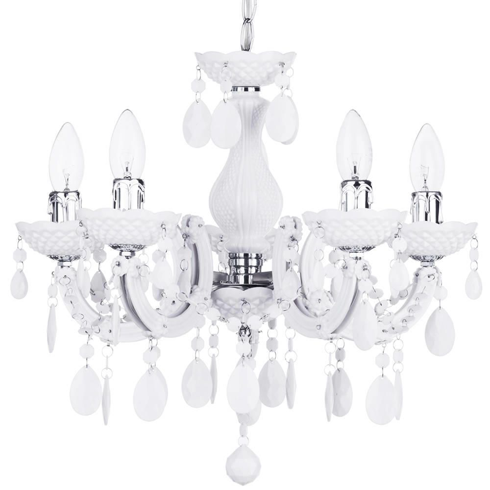 Marie Therese 5 Light Dual Mount Chandelier  White