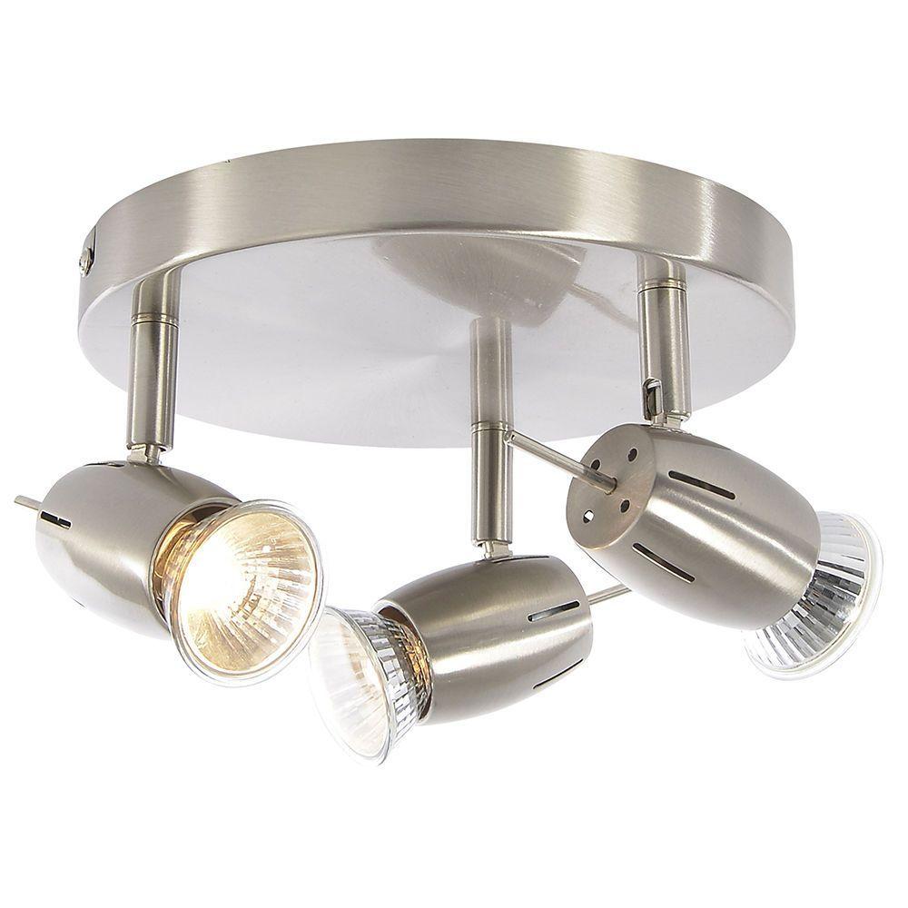 Large Modern Silver Chrome 6 Way Kitchen Ceiling Spot: Frank 3 Light Ceiling Spotlight Plate