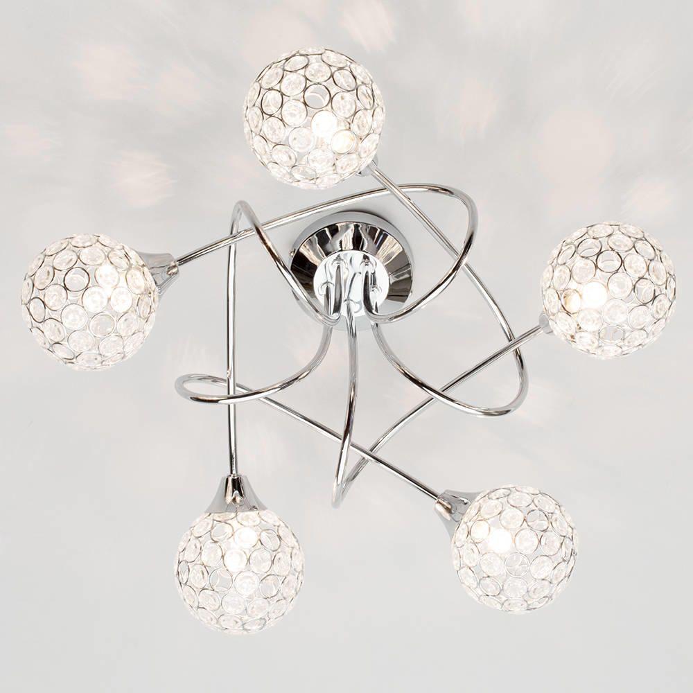 Gem ball 5 light twist semi flush ceiling light chrome elegant ceiling flush lighting living room mozeypictures Images