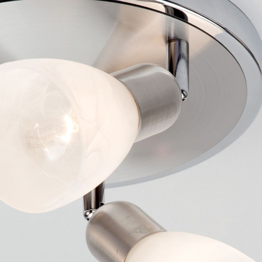 Rousse 3 light adjustable ceiling spotlights satin nickel alabaster shade ceiling light spotlight angle light needed aloadofball Image collections