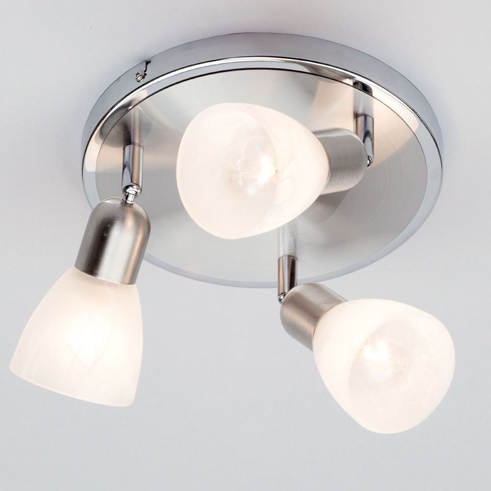 Rousse 3 light adjustable ceiling spotlights satin nickel perfect kitchen spotlight ceiling plate matching lights available aloadofball Gallery