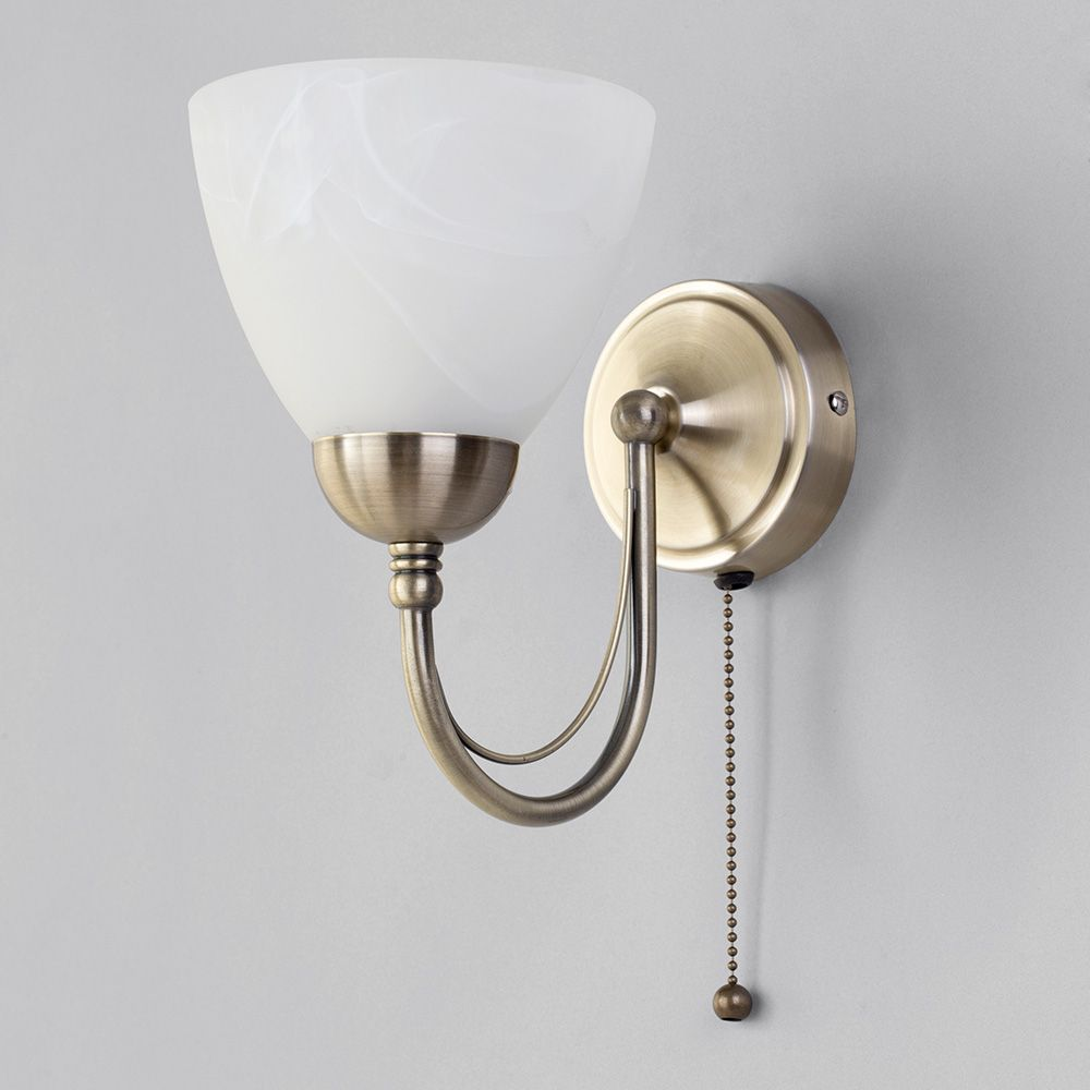 Barcelona 1 light pull cord wall light antique brass from litecraft lighting for traditional homes mozeypictures Images