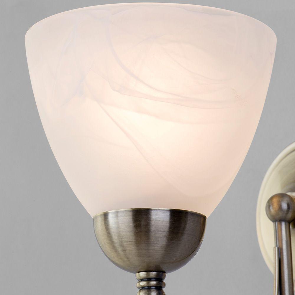 Large Glass Wall Lights : Barcelona 1 Light Pull Cord Wall Light - Antique Brass from Litecraft