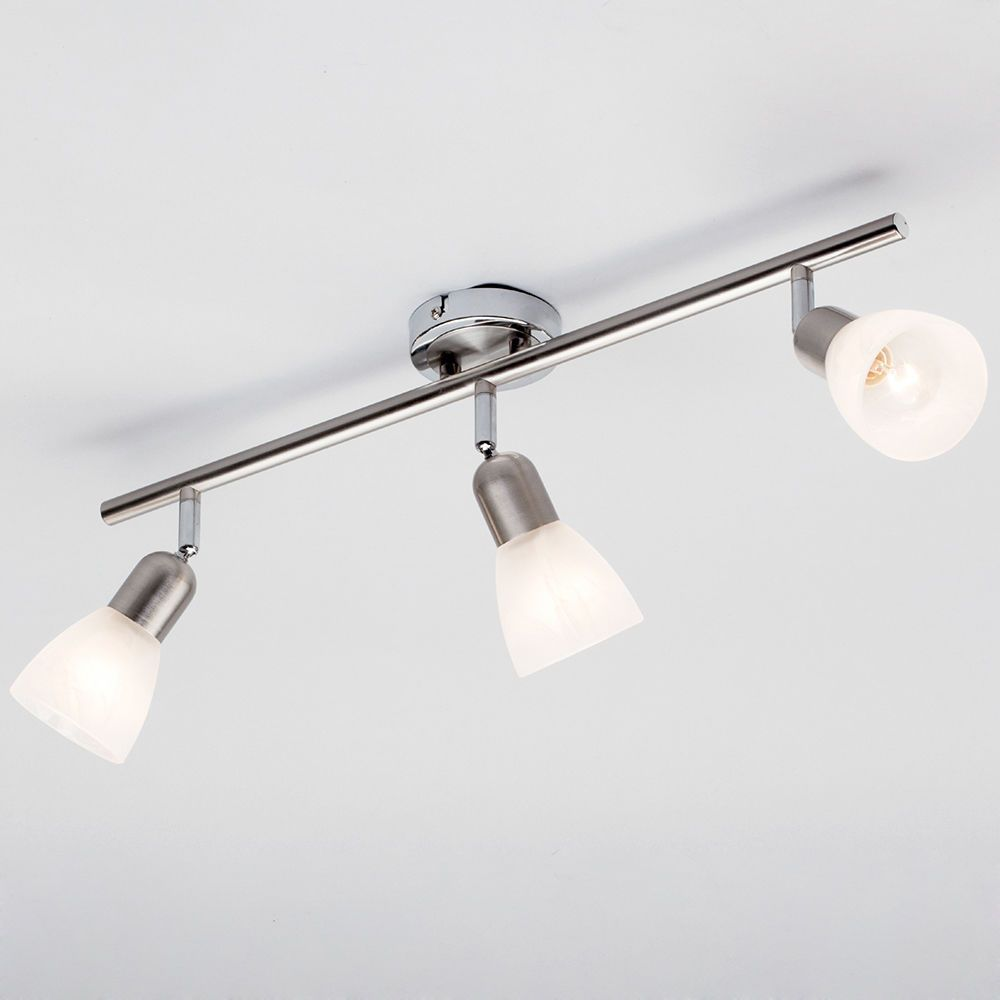 Rousse 3 Light Ceiling Spotlight Bar Satin Nickel From