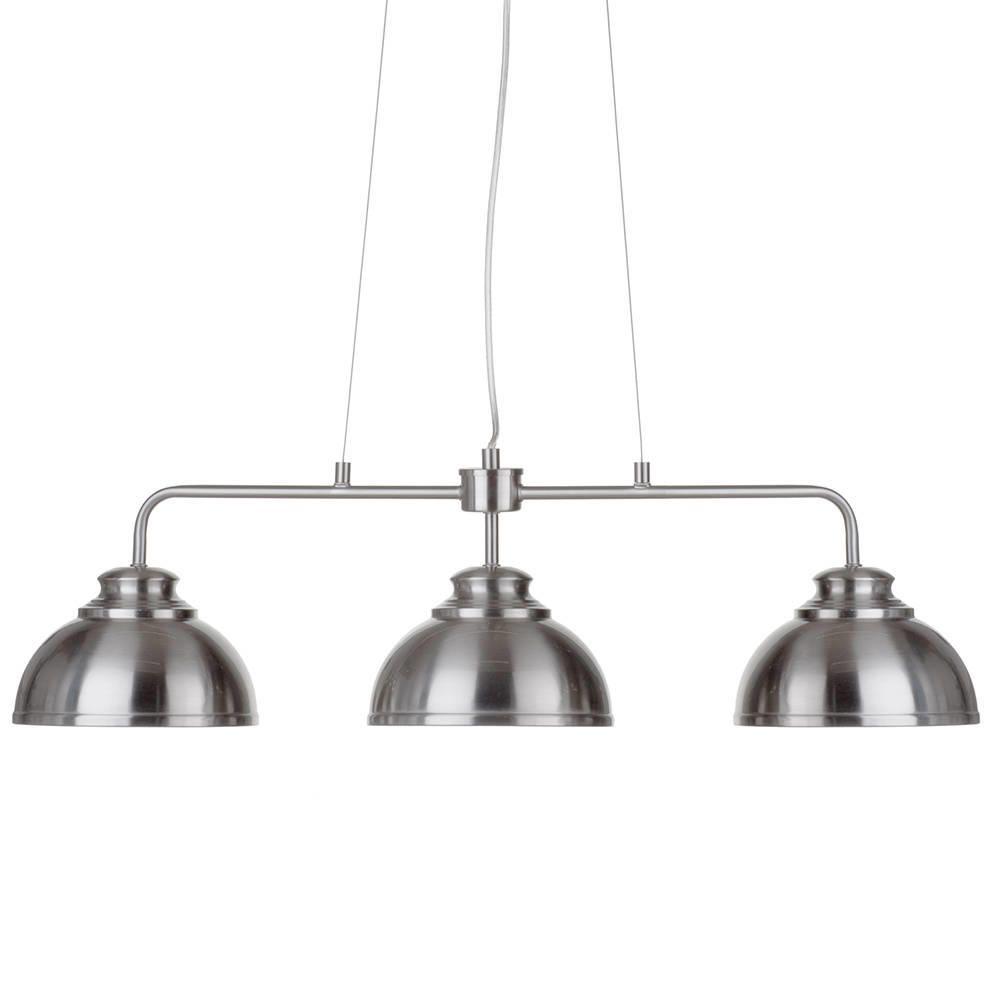 Brooklyn 3 Light Industrial Ceiling Pendant Bar - Satin Chrome from Litecraft