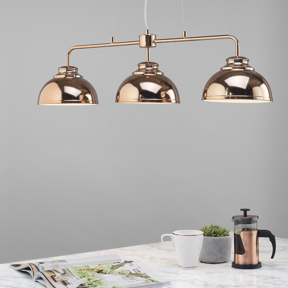 Brooklyn 3 Light Industrial Ceiling Pendant Bar - Rose ...