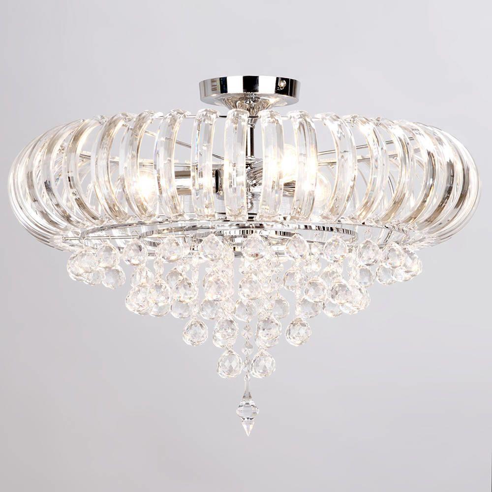 June 3 light crystal droplet semi flush chrome ceiling light june large ceiling semi flush lighting mozeypictures Gallery