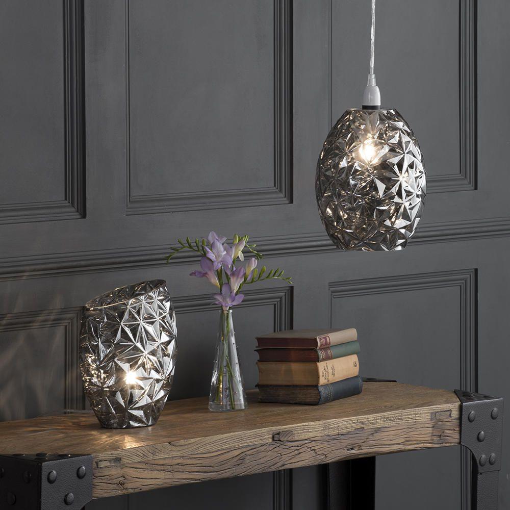 Fractal Pendant Lights: 1 Light Fractal Glass Table Lamp