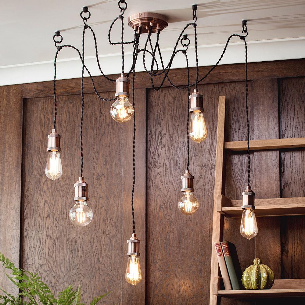 Alton industrial style 7 light ceiling cluster pendant copper