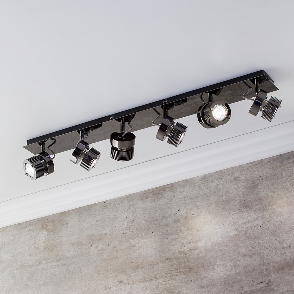 Telford 6 Light Adjustable Spotlight Bar  Black Chrome ...