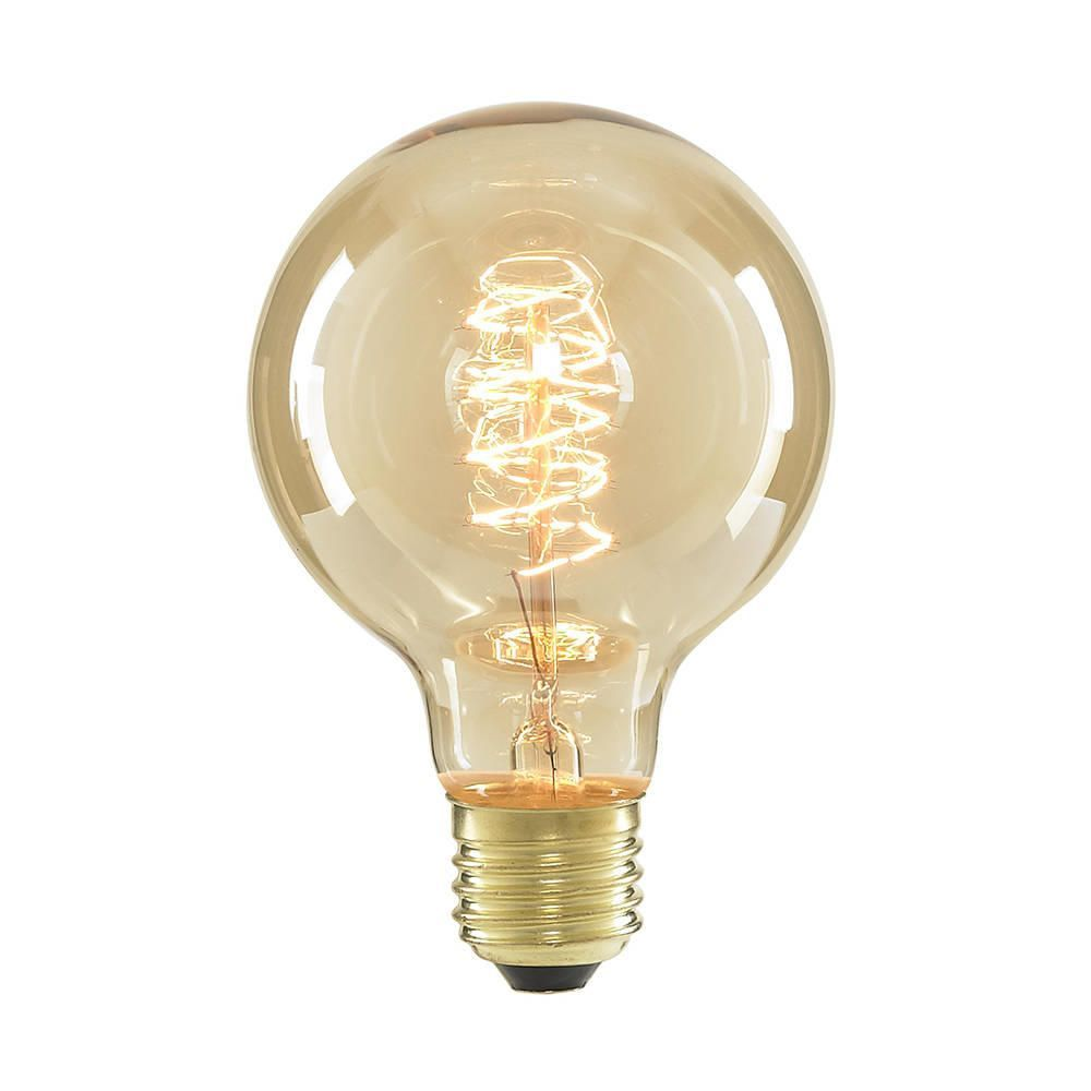 40 Watt Vintage Light Bulb Globe E27 Spiral Gold Tinted