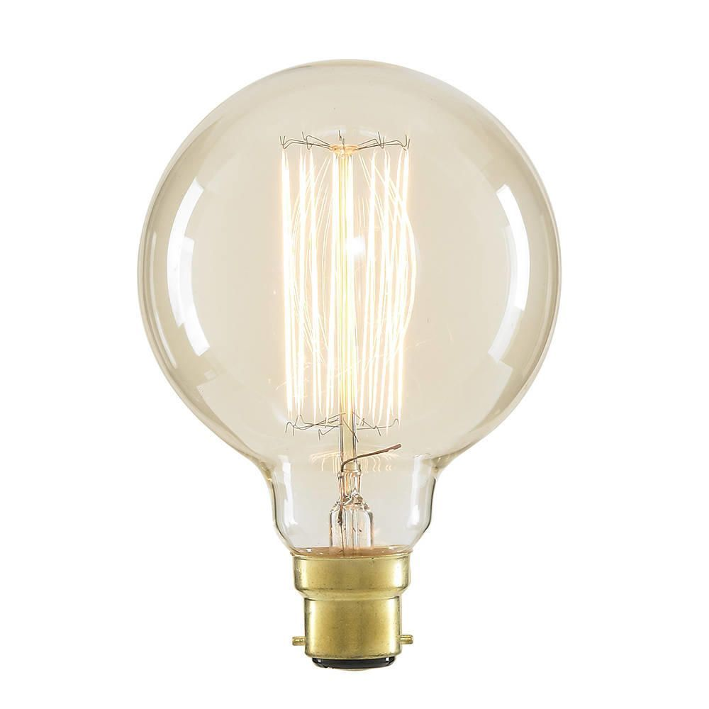 40 Watt Vintage Light Bulb Globe B22 Squirrel Cage Clear