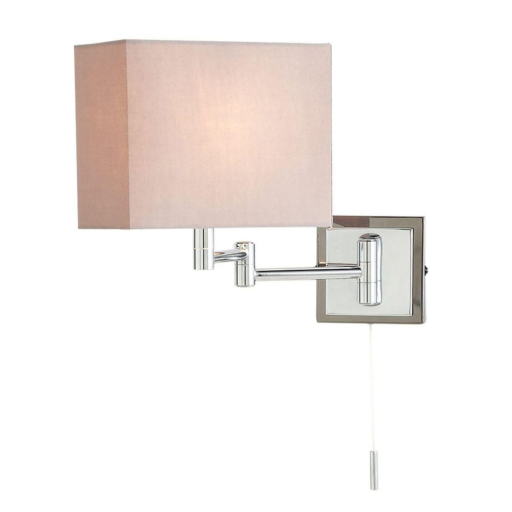 1 Light Swing Arm Wall Light with Cube Shade  Chrome