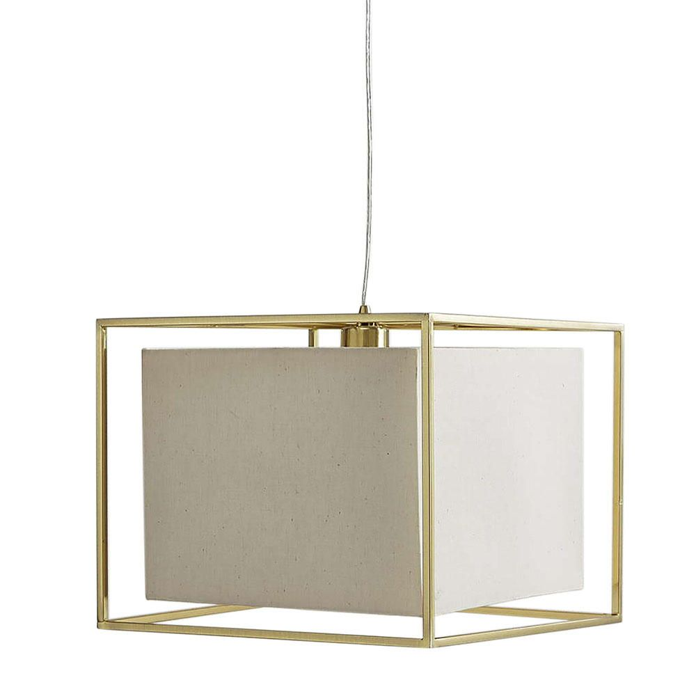 Ceiling Pendant Light with Cube Shade - 1 Light Frame Brass From ...
