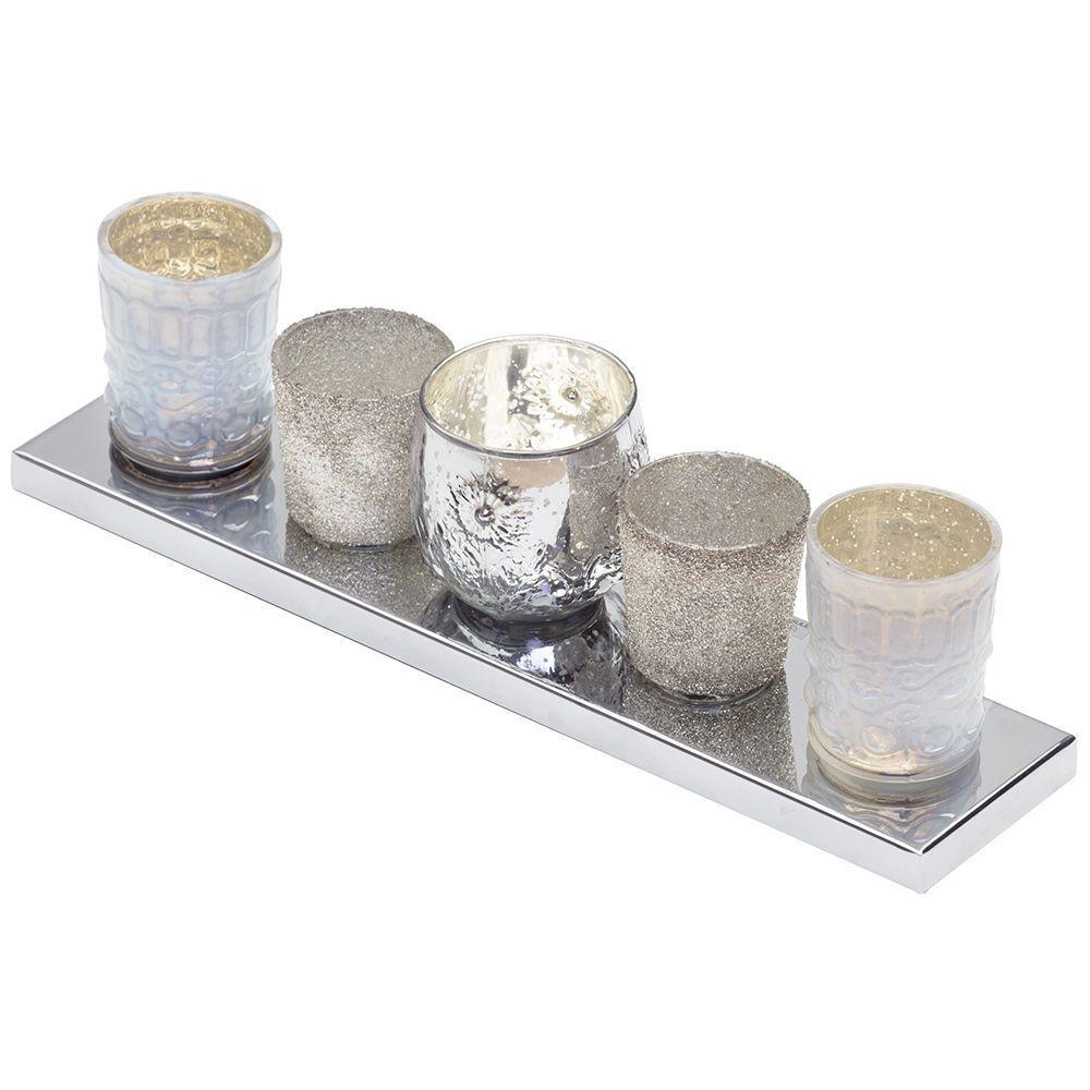 5 Light Glass Tea Light Table Lamp Bar  Chrome
