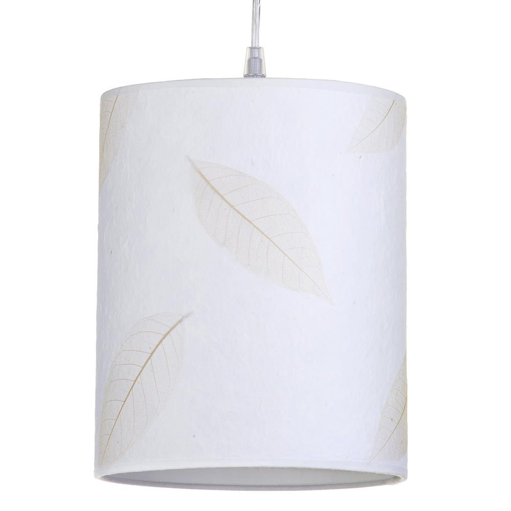 Leafy Coarse Texture Easy to Fit Cylinder Ceiling Shade Cream