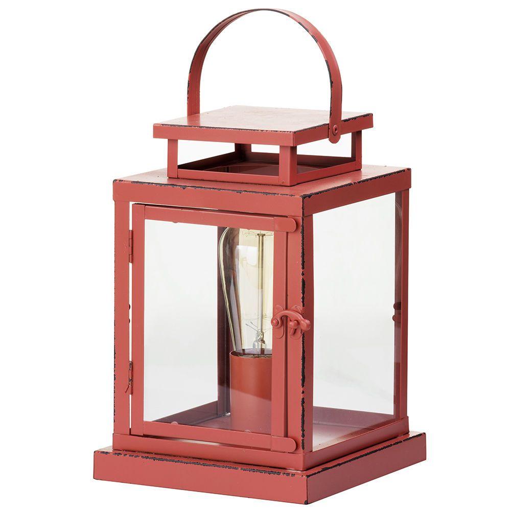 1 Light Vintage Lantern Table Lamp Red From Litecraft