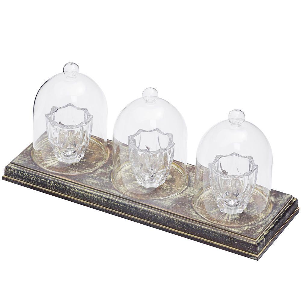 3 Light Tealight Table Lamp Bar Wood Glass