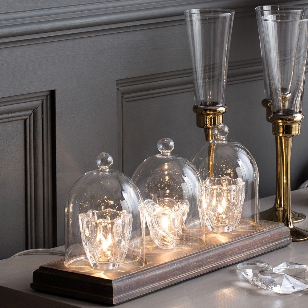 Glass Table Lamp Tealight Wood Bar 3 Light From Litecraft