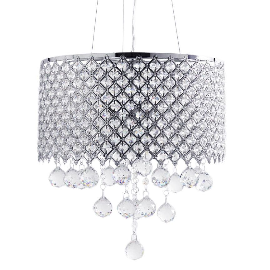 4 Light Lattice Drum Shade with Glass Droplets Chrome