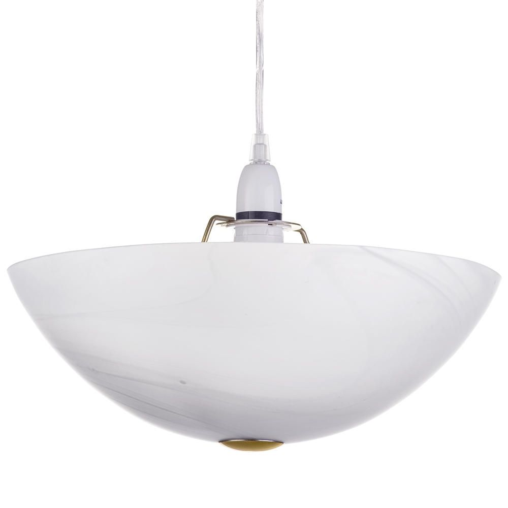 Litecraft Upturned White Alabaster Easy to Fit Bowl Ceiling Shade - Antique Brass