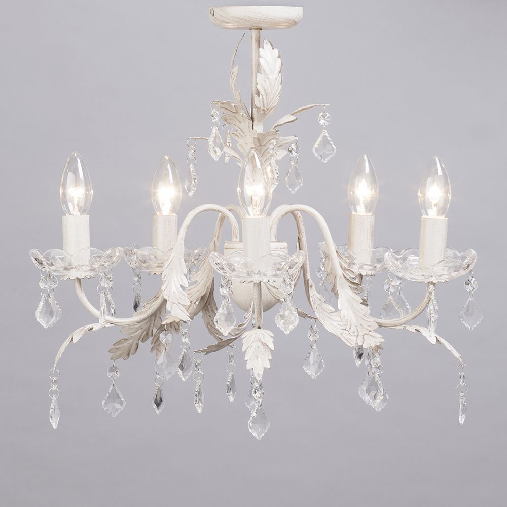Romeo 5 Light Chandelier Cream Amp Gold From Litecraft