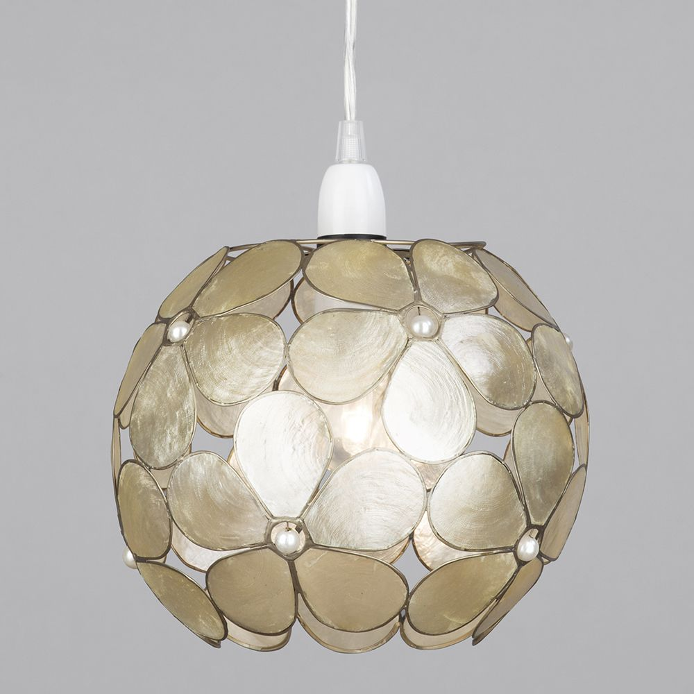 Floral Style Capiz Ball Ceiling Light Shade Champagne