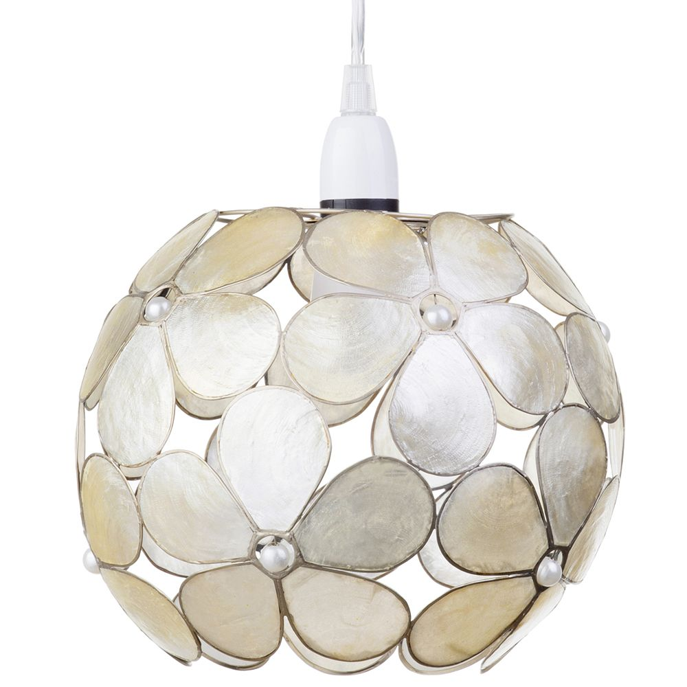 Floral style capiz ball easy to fit ceiling shade champagne from easy to fit ceiling shade champagne fastfree delivery aloadofball Image collections